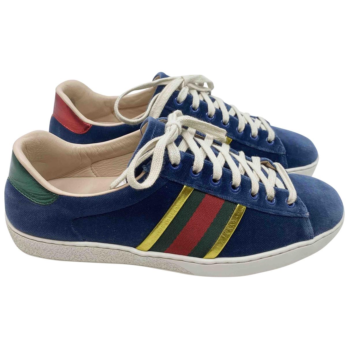 Gucci - Baskets Ace pour femme en suede - bleu
