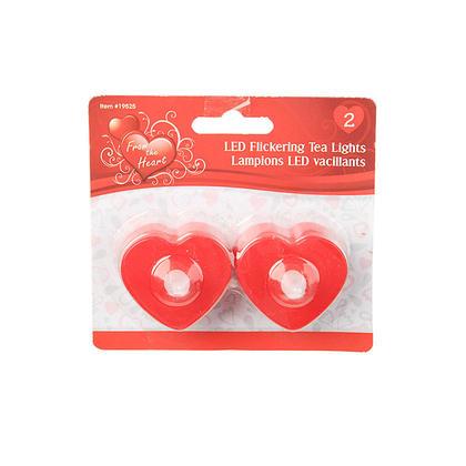 Valentines LED Tea Lights Coeur 2Pcs