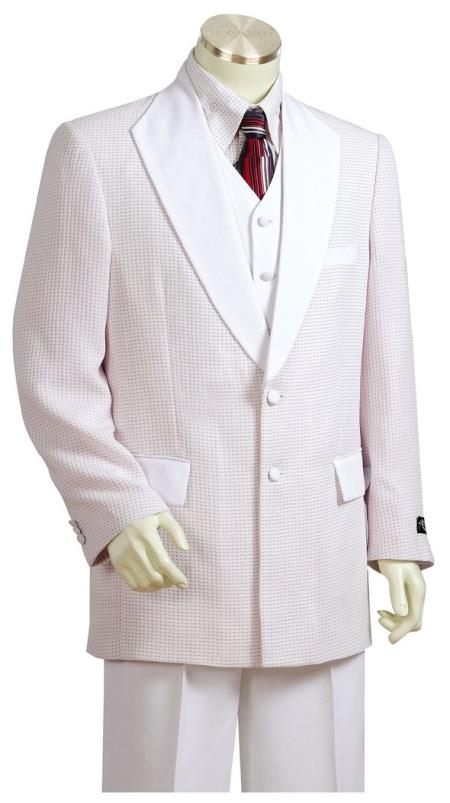 Mens Polka Dots Shawl Lapel White Plain Zoot Suit
