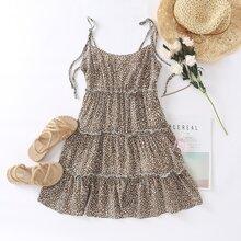Leopard Print Layered Hem Cami Dress