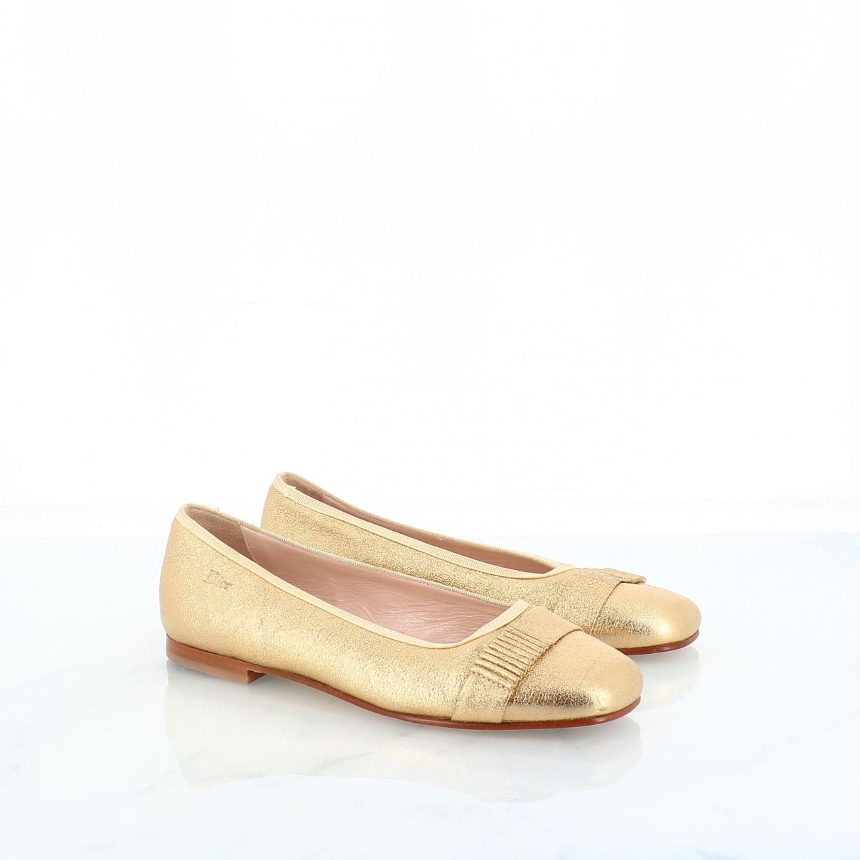 Dior \N Ballerinas in  Gold Leder
