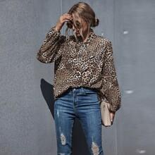 Tie Neck Leopard Print Blouse