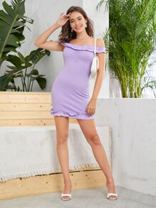 Ruffle Trim Ruched Front Bardot Dress