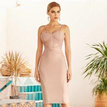 Adyce vestido de vendaje bustier con encaje de pestaña