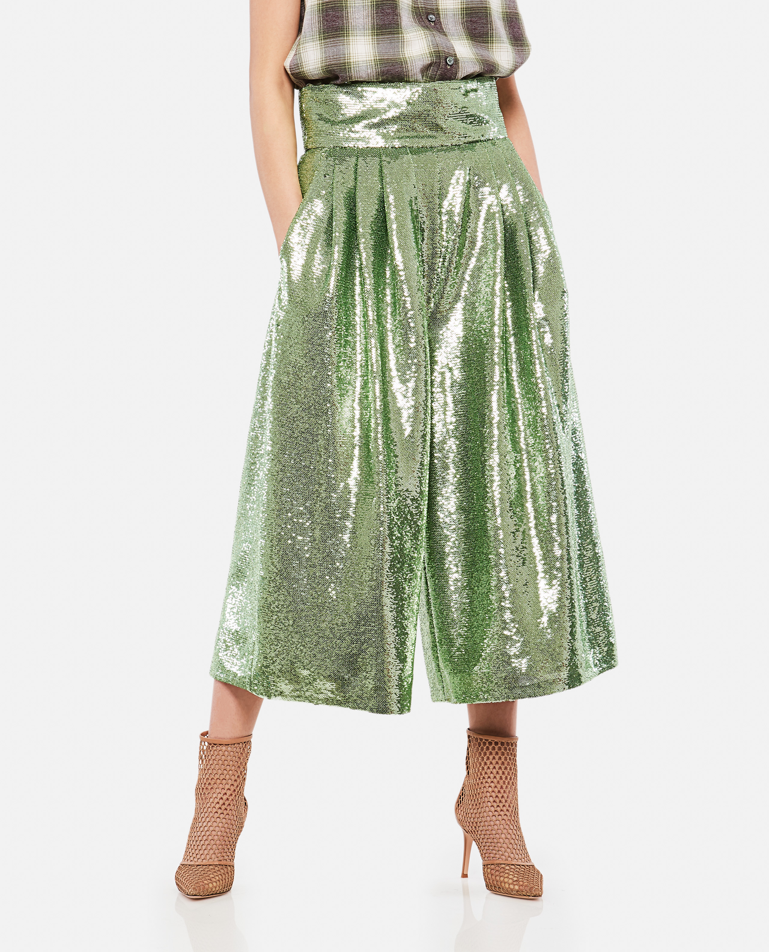 Long Trousers With Opaque Micro-Sequins