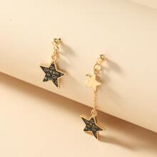 Zweifarbige Ohrringe mit Stern Dekor