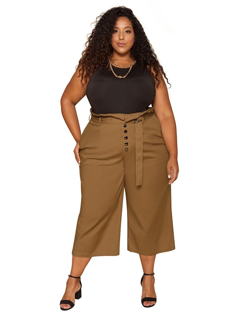 Ericdress Plain Button Loose Wide Legs Women's Full Length Casual Pants