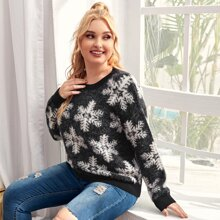 Plus Christmas Snowflakes Pattern Fuzzy Sweater