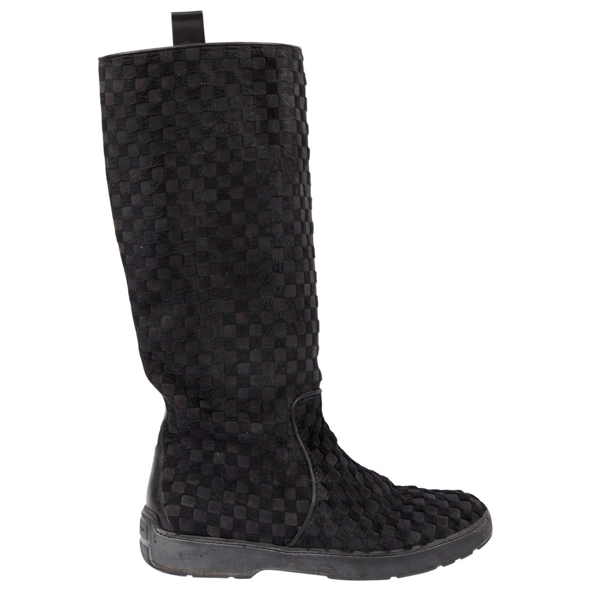 Louis Vuitton - Bottes   pour femme en veau facon poulain - noir