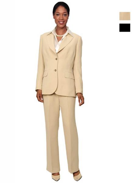 Womens 2 Button Single Breasted Tan Suit