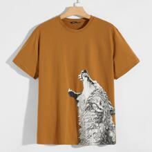 Figurbetontes T-Shirt mit Wolf Muster