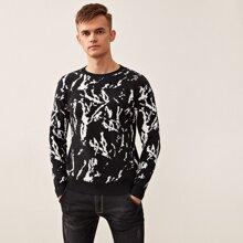 Pullover mit Grafik und rundem Kragen