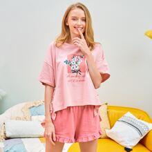 PJM Slogan & Floral Graphic Top & Ruffle Hem Shorts PJ Set