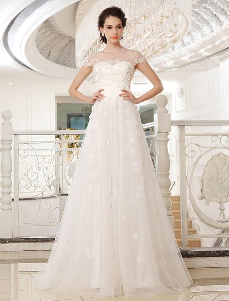 Milanoo Vestido de novia de tul de color marfil con escote redondo de estilo moderno