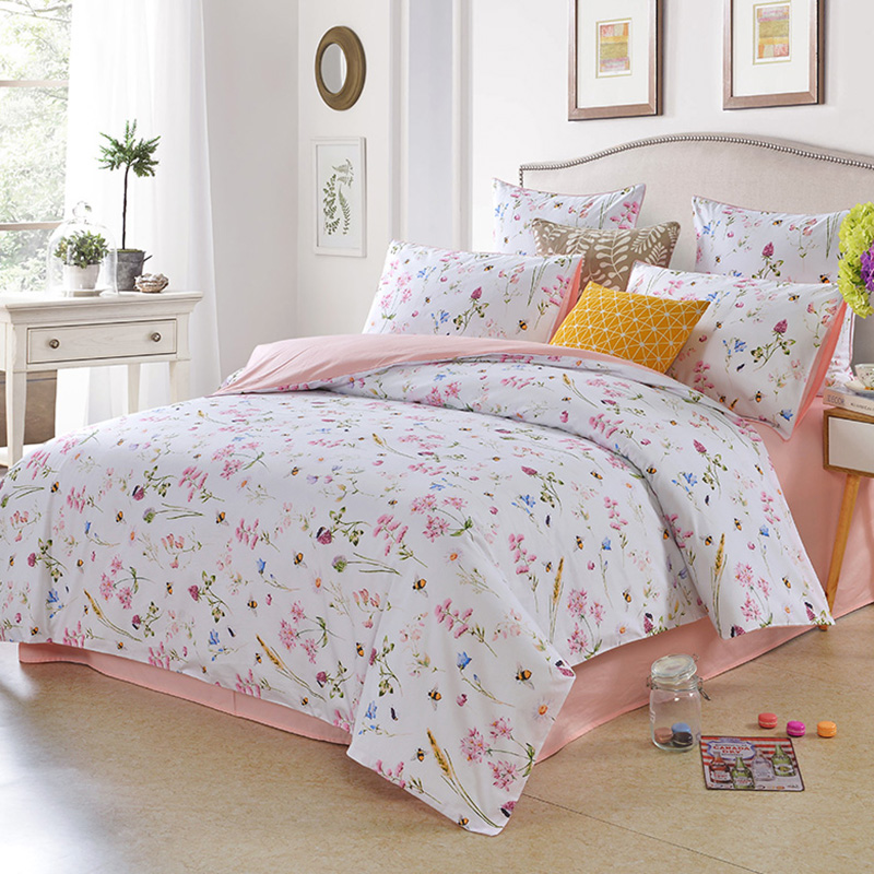 Floral Bees Reactive Printing Four-Piece Set Duvet Cover Set Polyester Bedding Sets Colorfast