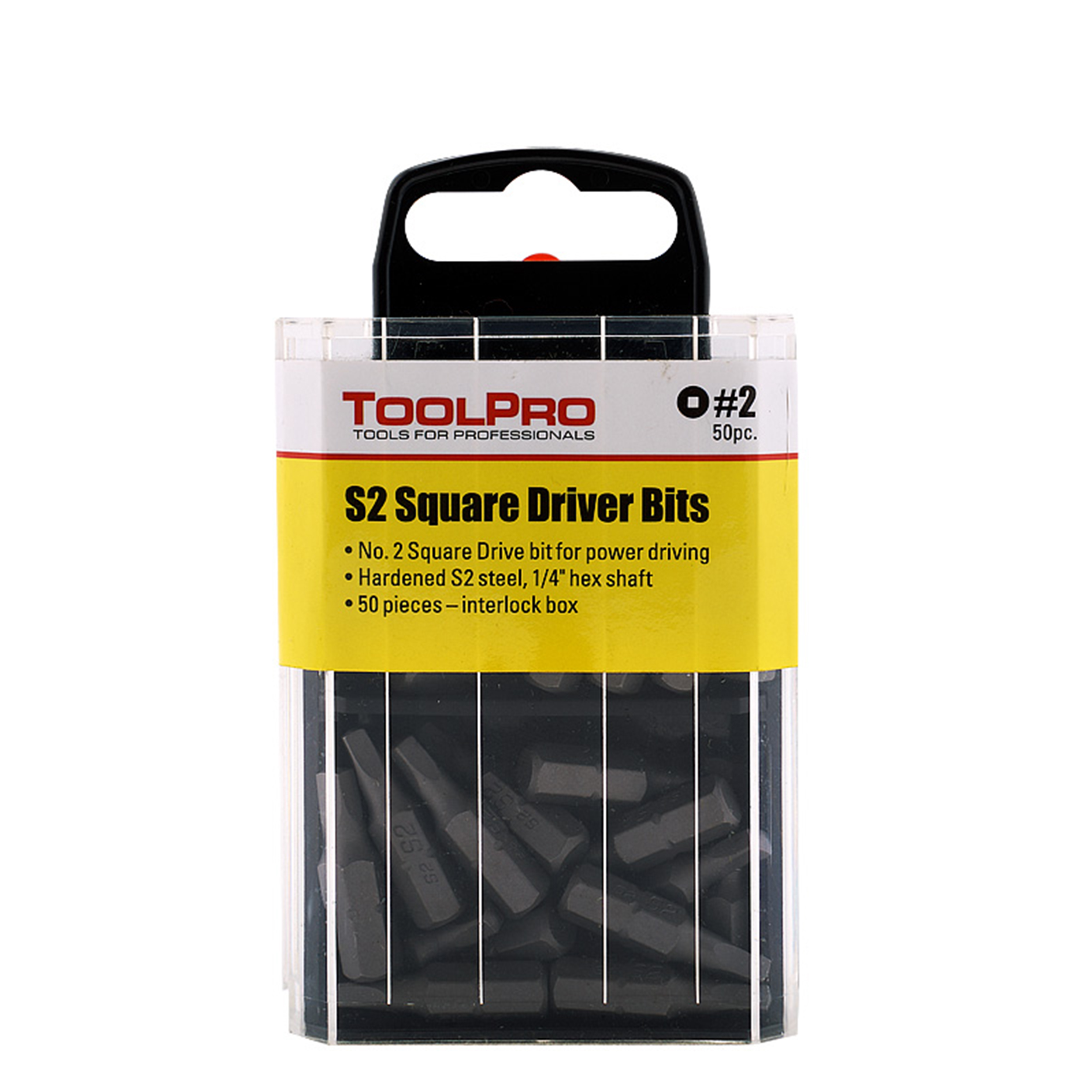 #2 Square Drive Bit, 50-Pack Interlocking Box