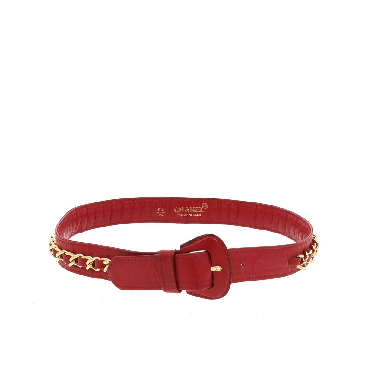 Chanel \N Guertel in  Rot Leder