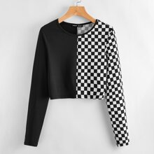 Gespleisstes Crop T-Shirt mit Karo Muster