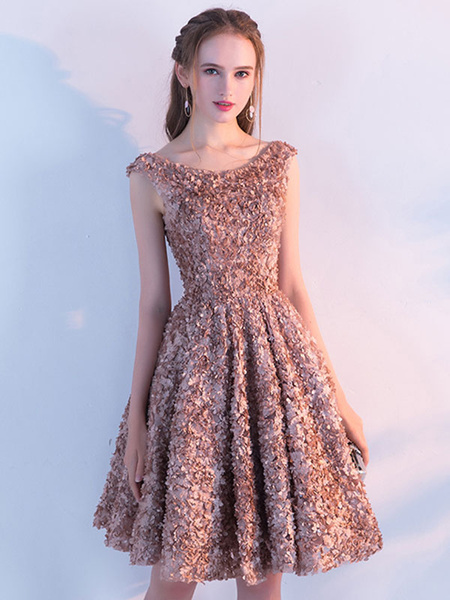 Milanoo Sequin Party Dress Amber Lace Sleeveless Homecoming Dresses Round Neck A Line Sash Cocktail Dresses
