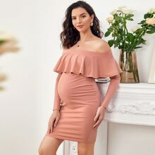 Maternity Flounce Off Shoulder Bodycon Dress