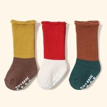 3 Paare Baby Socken mit Farbblock