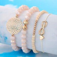 4pcs Lotus & Infinity Decor Bracelet