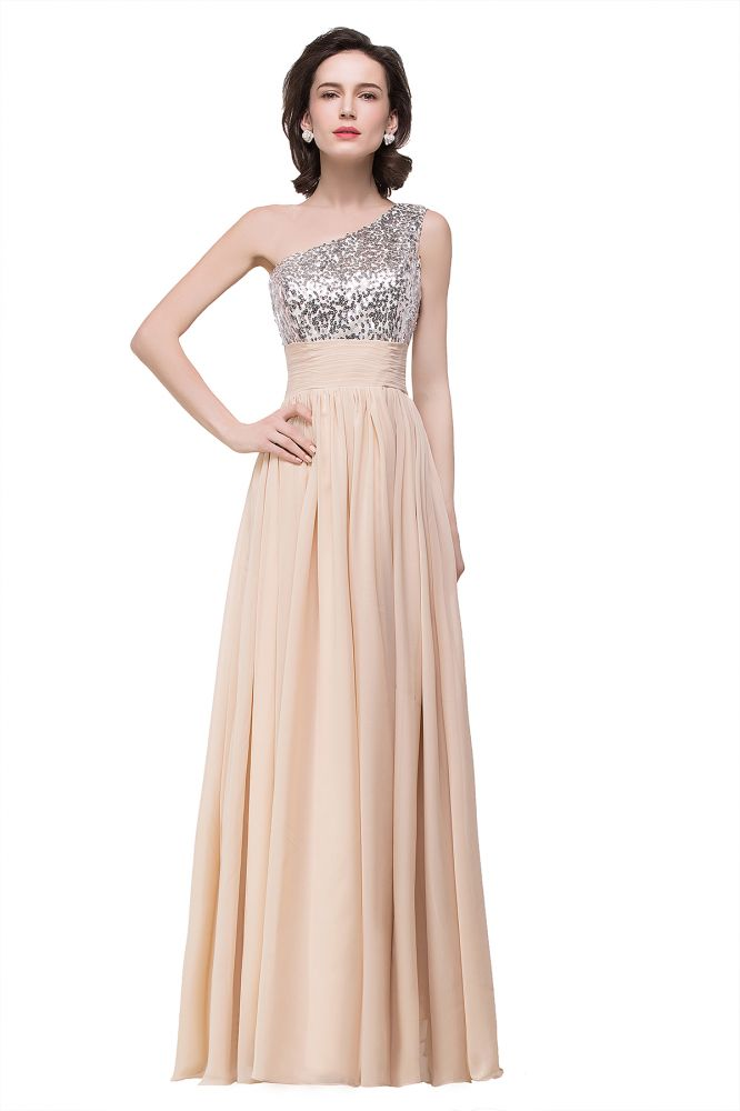 ADELYN | A-line Floor-length Chiffon Evening Dress with Sequined