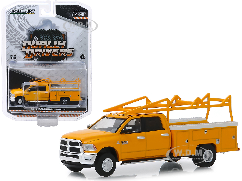 2018 RAM 3500 Laramie Service Bed Truck with Ladder Rack Yellow