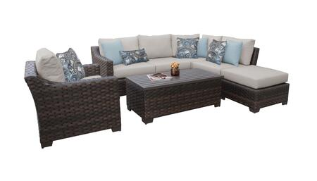 RIVER-07f-BEIGE Kathy Ireland Homes and Gardens River Brook 7-Piece Wicker Patio Set 07f - 1 Set of Truffle and 1 Set of Almond