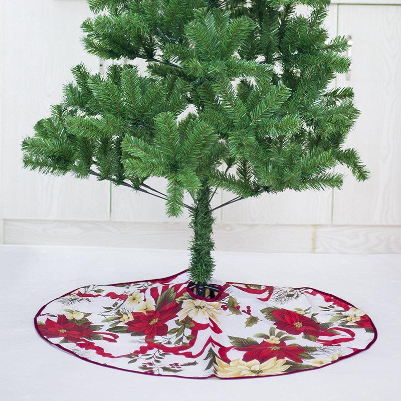 60/90cm Red Printed Christmas Tree Skirt Home Christmas Tree Dress Christmas Tree Decoration
