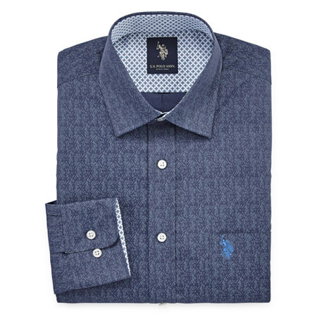 U.S. Polo Assn. Mens Easy Care Spread Collar Big and Tall Dress Shirt, 19-19.5 36-37, Blue