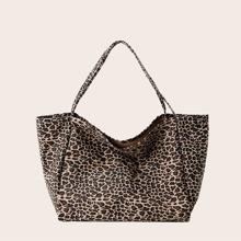 Bolso tote con estampado de leopardo