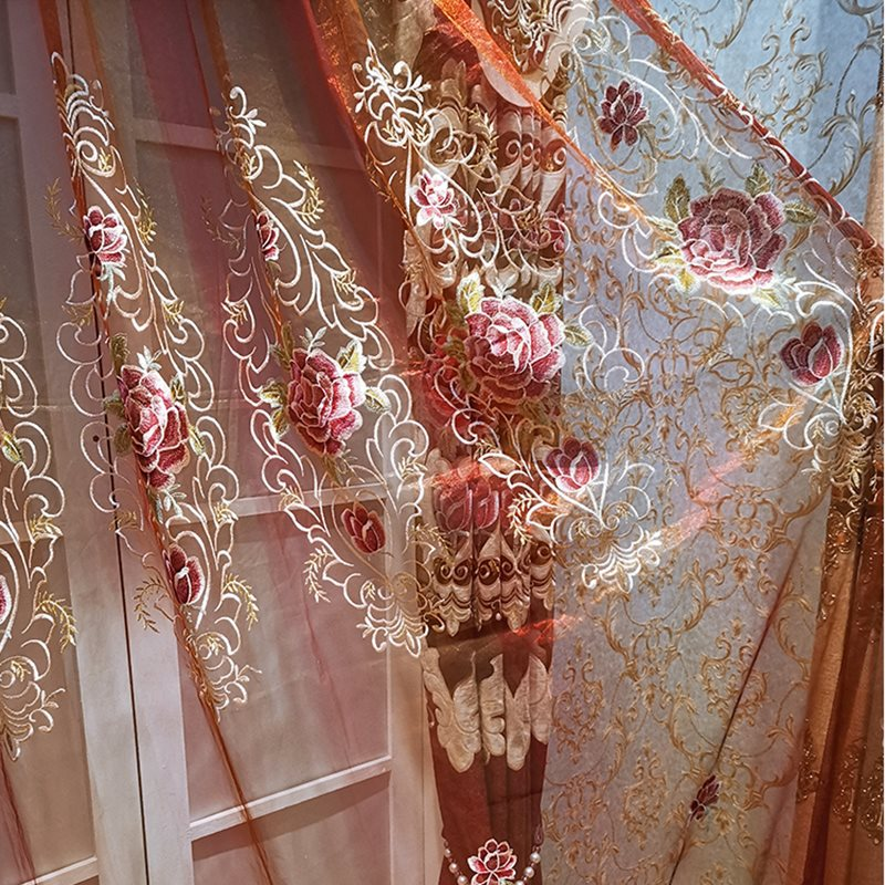 European Royal Style Embroidered High-quality Living Room Custom Sheer Curtains