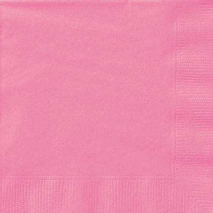 Party Beverage Napkins Solid Color 25*25cm 10*10In 2-Ply Hot Pink 20Pcs