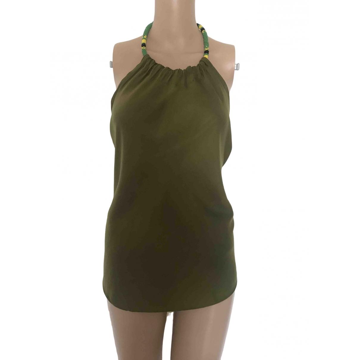 Non Signé / Unsigned Oversize Khaki Cotton  top for Women S International