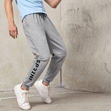 Pantalones deportivos de cintura con cordon con estampado de letra