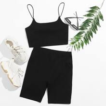 Solid Cami Top & Biker Shorts Set