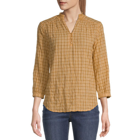 St. Johns Bay Womens 3/4 Sleeve Blouse, X-small , Yellow