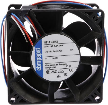 ebm-papst , 24 V dc, DC Axial Fan, 80 x 80 x 38mm, 190m³/h, 26W