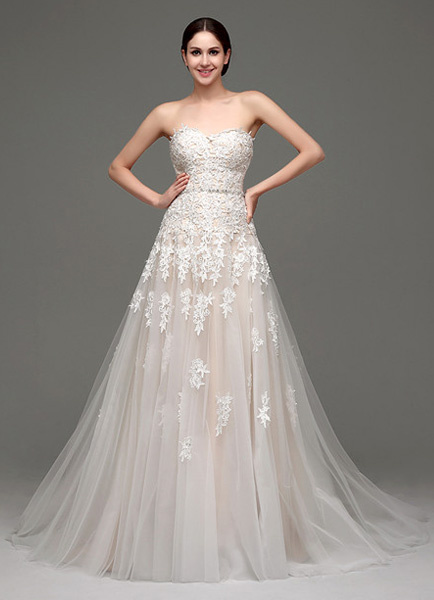Milanoo Wedding Dresses Champagne Tulle Strapless Sweatheart Lace Sash Bridal Gown