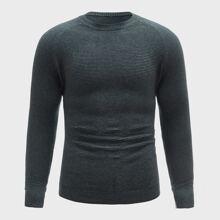 Pullover mit rundem Kragen und Raglan Ärmeln