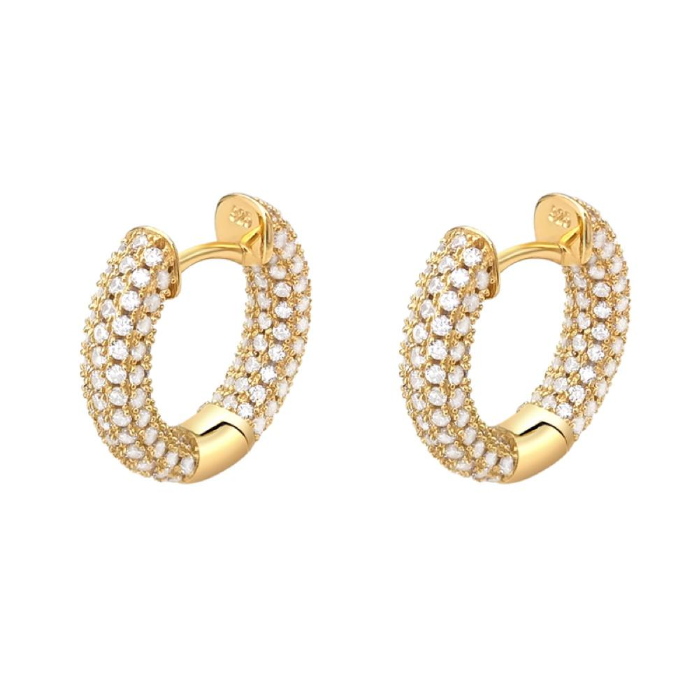 3D Full Micro Pave CZ Iced Out Huggie Hoop Earrings .925 Silver