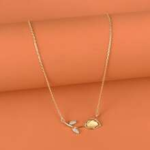 Halskette mit Strass und Blumen Anhaenger