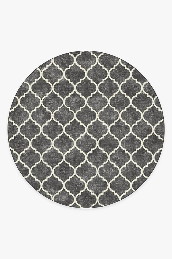 Washable Rug Cover & Pad | Terali Black Rug | Stain-Resistant | Ruggable | 8 Round