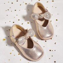 Toddler Girls Bow Decor Metallic Flats
