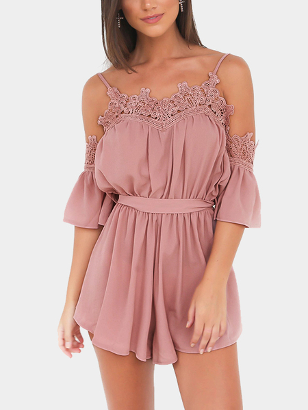 Yoins Pink Sexy Cold Shoulder Self-tie Design Playsuit