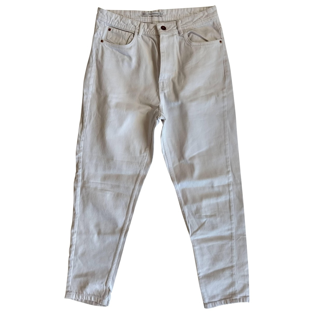 Zara \N White Cotton Trousers for Women M International