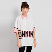 Polo Shirt mit Kontrast Kragen, Knopfen vorn und Buchstaben Grafik