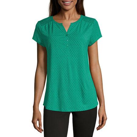 Liz Claiborne Womens Split Crew Neck Short Sleeve Henley Shirt, Small , Green