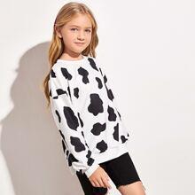 Pullover mit sehr tief angesetzter Schulterpartie und Kuh Muster